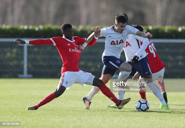 Anthony Georgiou of Spurs battles with Heriberto Tavares of Benfica during the Premier League International Cup match between Tottenham Hotspur U23...