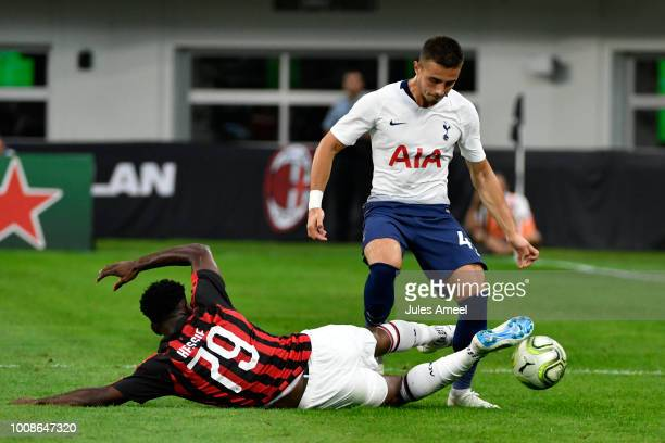 Anthony Georgiou of the Tottenham Hotspur steals the ball from Franck Kessié of AC Milan during the first half of the International Champions Cup...