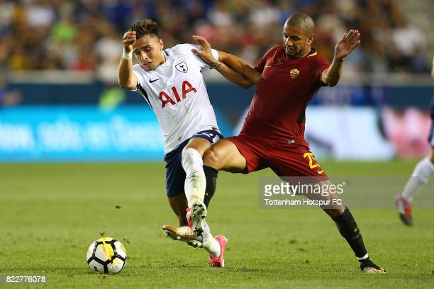 Anthony Georgiou of Tottenham Hotspur and Bruno Peres of Roma vie for the ball during the International Champions Cup 2017 at Red Bull Arena on July...
