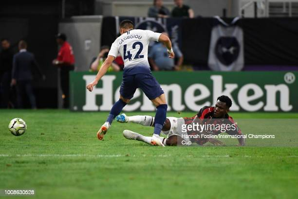 Anthony Georgiou of Tottenham Hotspur and Franck Kessie of AC Milan battle for the ball in the first half during the International Champions Cup 2018...