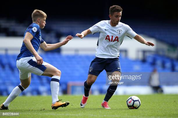 Anthony Georgiou of Tottenham Hotspur battles with Lewis Gibson of Everton during the Premier League 2 match between Everton and Tottenham Hotspur at...