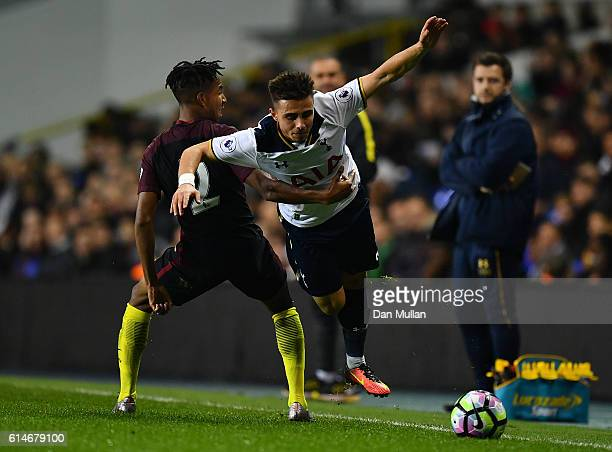 Anthony Georgiou of Tottenham Hotspur is fouled by Demeaco Duhaney of Manchester City during the Premier League 2 match between Tottenham Hotspur and...