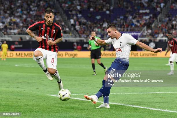 Anthony Georgiou of Tottenham Hotspur kicks the ball against Suso of AC Milan in the first half during the International Champions Cup 2018 at US...
