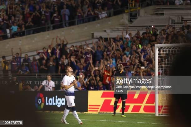 Anthony Georgiou of Tottenham Hotspur reacts after Jasper Cillessen of FC Barcelona blocks the penaty kick during an International Champions Cup...