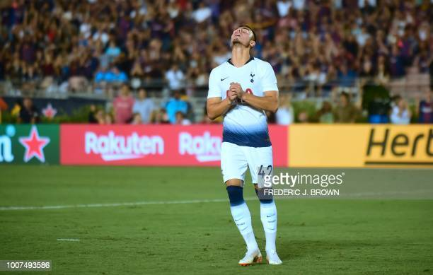 Anthony Georgiou of Tottenham Hotspur reacts after missing his penalty in the penalty shotout during the International Champions Cup football match...