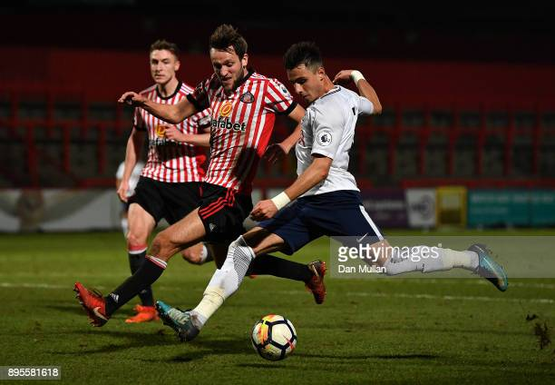 Anthony Georgiou of Tottenham Hotspur takes a shot at goal during the Premier League Two match between Tottenham Hotspur and Sunderland at The Lamex...