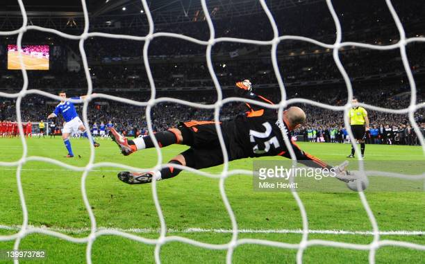 Anthony Gerrard of Cardiff City misses the decisive penalty in the shoot out during the Carling Cup Final match between Liverpool and Cardiff City at...