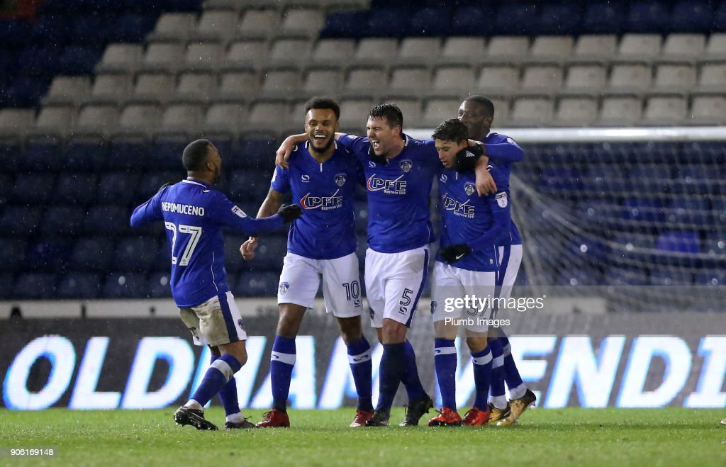 Anthony Gerrard of Oldham Athletic celebrates after scoring to make it 3-2 during the Checkatrade Trophy tie between Oldham Athletic and Leicester City at Boundary Park on January 17, 2018 in Oldham, United Kingdom.