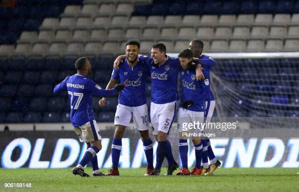 Anthony Gerrard of Oldham Athletic celebrates after scoring to make it 32 during the Checkatrade Trophy tie between Oldham Athletic and Leicester...