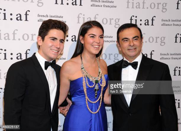 Anthony Ghosn Caroline Ghosn and businessman Carlos Ghosn attend the 2013 Trophee des Arts gala at 583 Park Avenue on November 15 2013 in New York...
