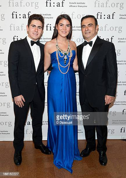 Anthony Ghosn Caroline Ghosn and Carlos Chosn attend the 2013 Trophee Des Arts gala on November 15 2013 in New York City