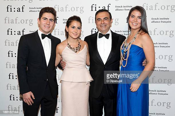 Anthony Ghosn Maya Ghosn Carlos Ghosn and Caroline Ghosn attend the 2013 Trophee Des Arts gala on November 15 2013 in New York City