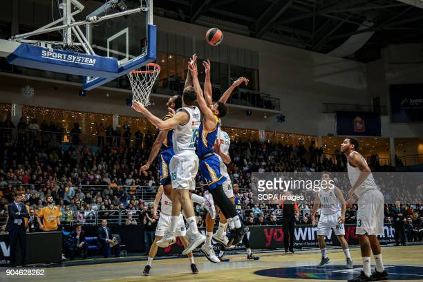Anthony Gill #13 of Moscow Khimki jumps for a rebound against Walter Tavares #23 of Real Madrid during the 2017/2018 Turkish Airlines EuroLeague...