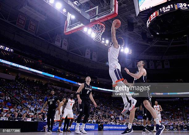 Anthony Gill of the Virginia Cavaliers shoots against the Butler Bulldogs in the second half during the second round of the 2016 NCAA Men's...
