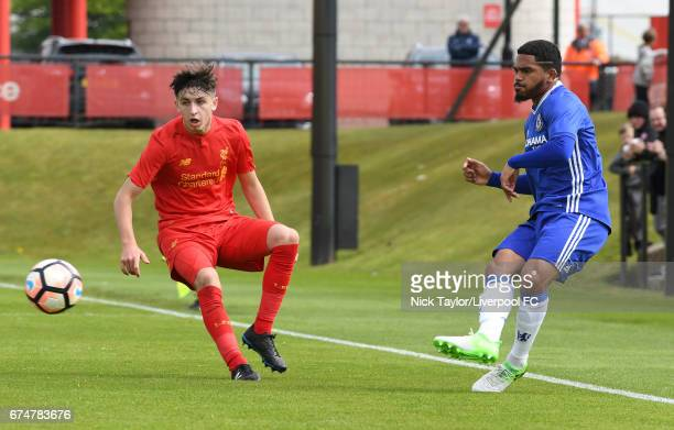 Anthony Glennon of Liverpool and Cole Da Silva of Chelsea in action during the Liverpool v Chelsea U18 Premier League game at The Kirkby Academy on...