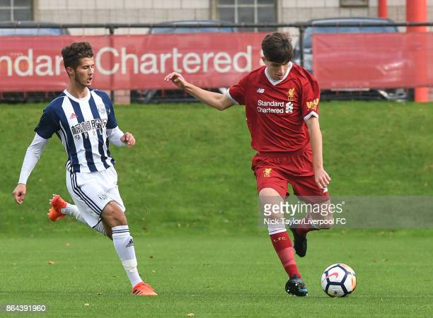 Anthony Glennon of Liverpool and Jamie Soule of West Bromwich Albion in action during the Liverpool v West Bromwich Albion U18 Premier League game at...