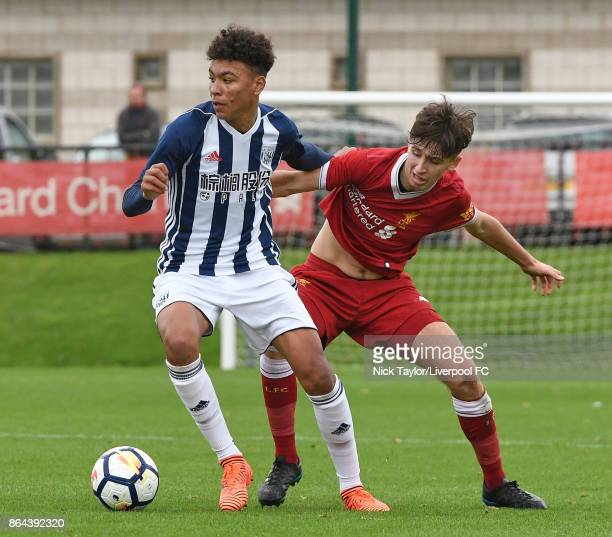 Anthony Glennon of Liverpool and Morgan Rogers of West Bromwich Albion in action during the Liverpool v West Bromwich Albion U18 Premier League game...