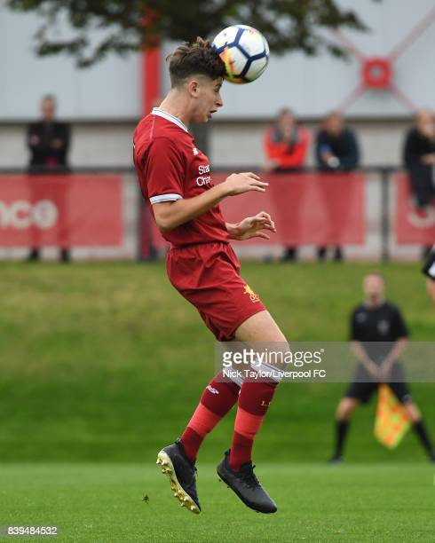 Anthony Glennon of Liverpool during the Liverpool v Newcastle United U18 Premier League game at The Kirkby Academy on August 25 2017 in Kirkby England