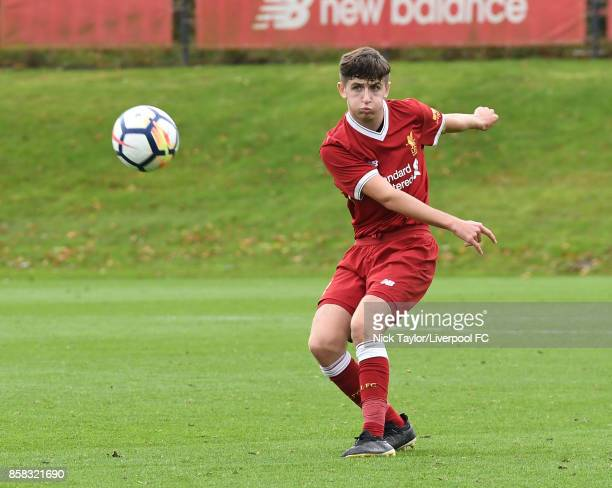 Anthony Glennon of Liverpool in action during the U18 friendly match between Liverpool and Burnley at The Kirkby Academy on October 6 2017 in Kirkby...