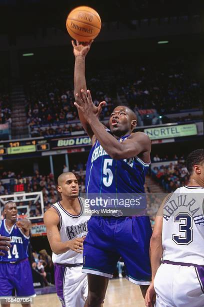 Anthony Goldwire of the Charlotte Hornets shoots the ball against the Sacramento Kings during a game played on January 12, 1997 at Arco Arena in...