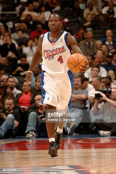 Anthony Goldwire of the Los Angeles Clippers brings the ball upcourt during the preseason game against the Seattle SuperSonics at Staples Center on...