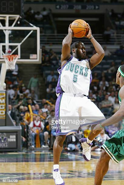 Anthony Goldwire of the Milwaukee Bucks attempts to pass the ball against the Boston Celtics during the game on April 13, 2005 at the Bradley Center...