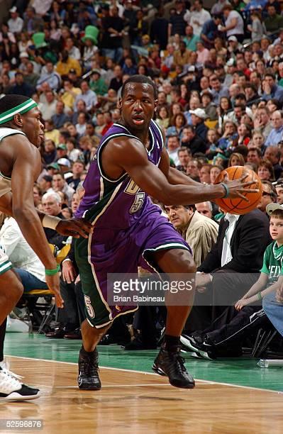 Anthony Goldwire of the Milwaukee Bucks drives against Marcus Banks of the Boston Celtics April 6, 2005 at the Fleet Center in Boston, Massachusetts....