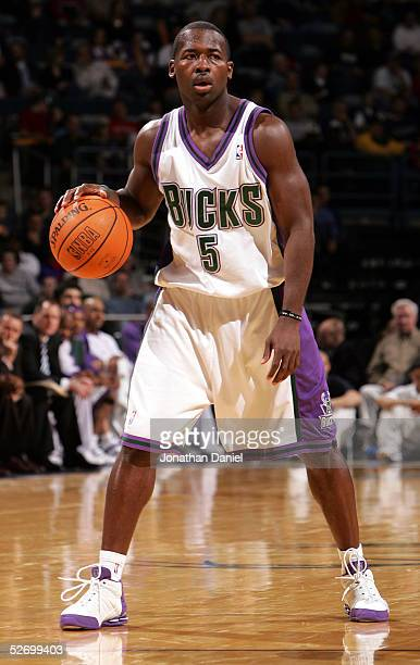 Anthony Goldwire of the Milwaukee Bucks moves the ball against the Memphis Grizzlies during the game on April 1, 2005 at Bradley Center in Milwaukee,...