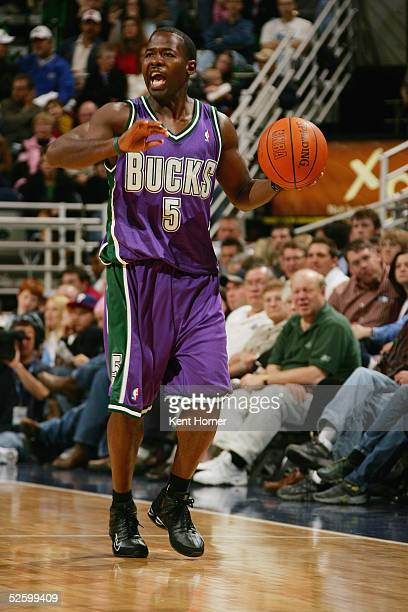 Anthony Goldwire of the Milwaukee Bucks sets up the play against the Utah Jazz on March 26, 2005 at the Delta Center in Salt Lake City, Utah. NOTE TO...