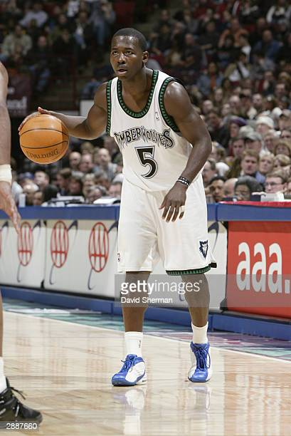 Anthony Goldwire of the Minnesota Timberwolves looks to make a play against the Miami Heat during the game at Target Center on January 10, 2004 in...
