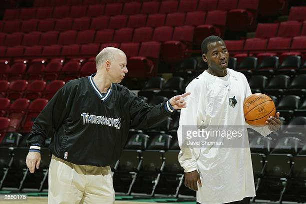 Anthony Goldwire of the Minnesota Timberwolves signed today to a 10day contract learns the offense from assistant coach Don Zierden during team...