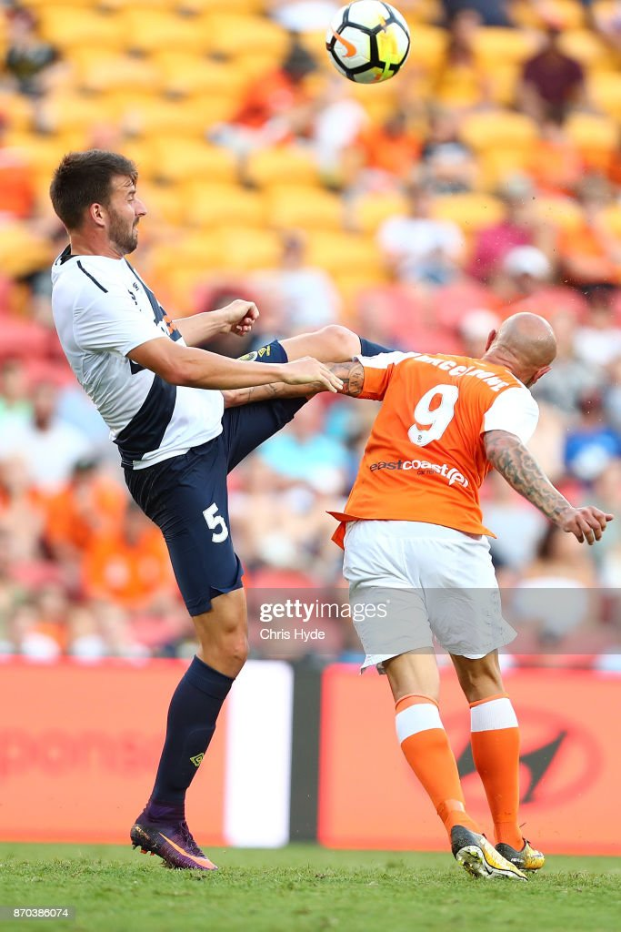 Anthony Golec of the Mariners kicks during the round five A-League match between the Brisbane Roar and the Central Coast Mariners at Suncorp Stadium on November 5, 2017 in Brisbane, Australia.