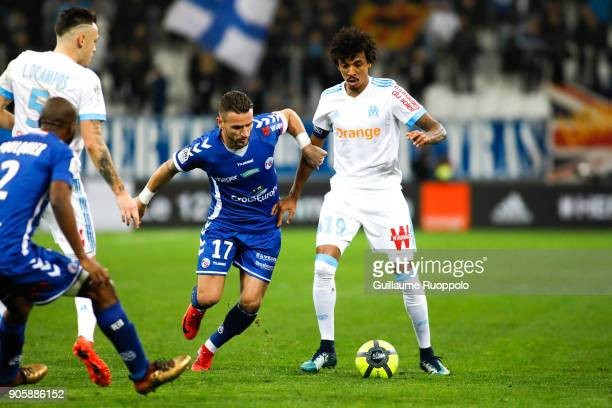 Anthony Goncalves of Strasbourg and Luiz Gustavo of Marseille during the Ligue 1 match between Olympique Marseille and Strasbourg at Stade Velodrome...