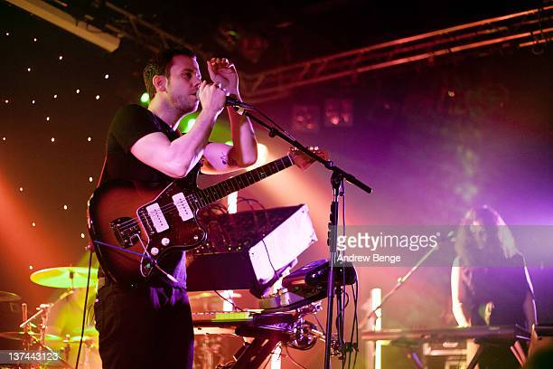 Anthony Gonzalez and Morgan Kibby of M83 performs on stage at Leeds University on January 20, 2012 in Leeds, United Kingdom.