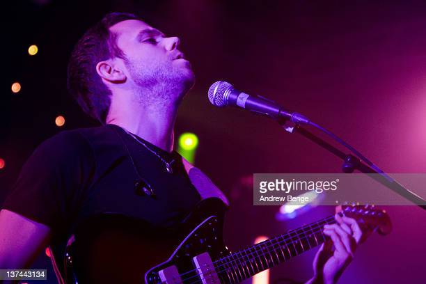 Anthony Gonzalez of M83 performs on stage at Leeds University on January 20, 2012 in Leeds, United Kingdom.