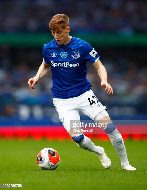 Anthony Gordon of Everton in action during the Premier League match between Everton FC and Southampton FC at Goodison Park on July 09 2020 in...