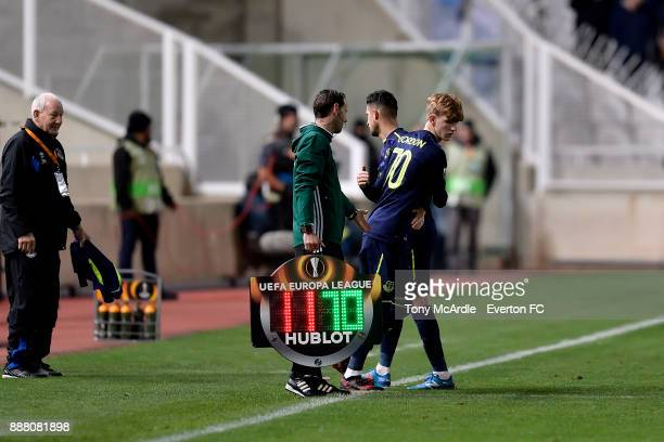 Anthony Gordon of Everton makes his debut during the UEFA Europa League Group E match between Apollon Limassol and Everton at GSP Stadium on December...