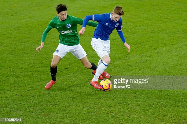 Anthony Gordon of Everton on the ball during the FA Youth Cup match between Everton and Brighton Hove Albion at Goodison Park on February 12 2019 in...