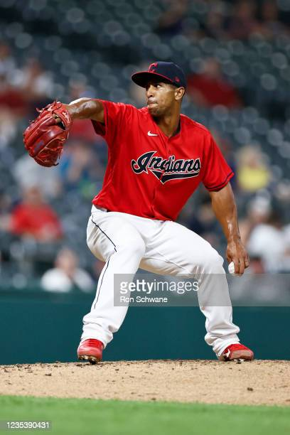 Anthony Gose of the Cleveland Indians pitches against the Kansas City Royals in the fourth inning during game two of a doubleheader at Progressive...