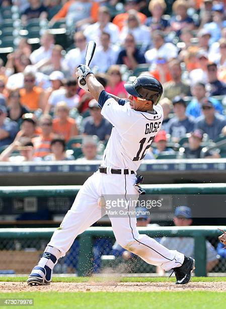 Anthony Gose of the Detroit Tigers is hit in the groin with a baseball while batting during the game against the Kansas City Royals at Comerica Park...