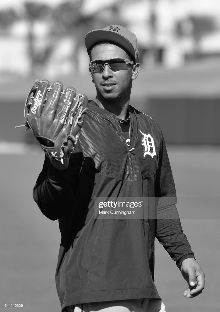 Anthony Gose #12 of the Detroit Tigers looks on during Spring Training workouts at the TigerTown facility on February 20, 2017 in Lakeland, Florida.