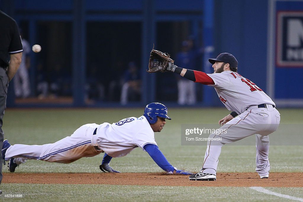 Anthony Gose #8 of the Toronto Blue Jays gets back to second base safely in the seventh inning during MLB game action as Dustin Pedroia #15 of the Boston Red Sox waits for the throw on July 22, 2014 at Rogers Centre in Toronto, Ontario, Canada.