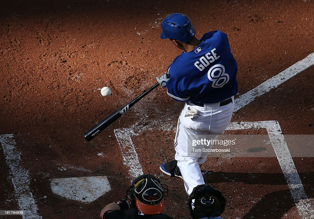 Anthony Gose #8 of the Toronto Blue Jays hits a triple in the second inning during MLB game action against the Baltimore Orioles on September 14, 2013 at Rogers Centre in Toronto, Ontario, Canada.