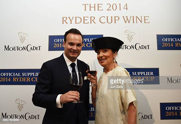 Anthony Gourmel Representative Director Asia of Baron Philippe de Rothschild SA and Francoise Morechand attend the launch party for Mouton Cadet...