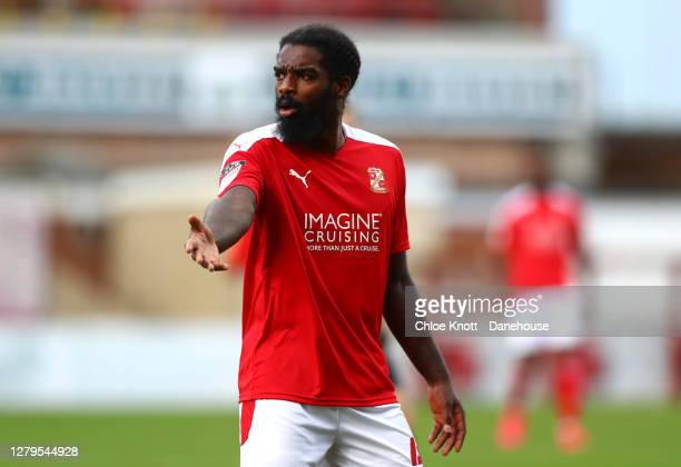 Anthony Grant of Swindon Town gestures during the Sky Bet League One match between Swindon Town and AFC Wimbledon at County Ground on October 10,...