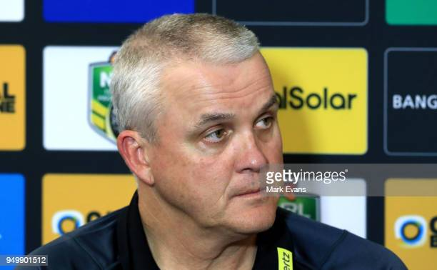 Anthony Griffin Coach of the Panthers speaks during a press conference after the round seven NRL match between the Cronulla Sharks and the Penrith...