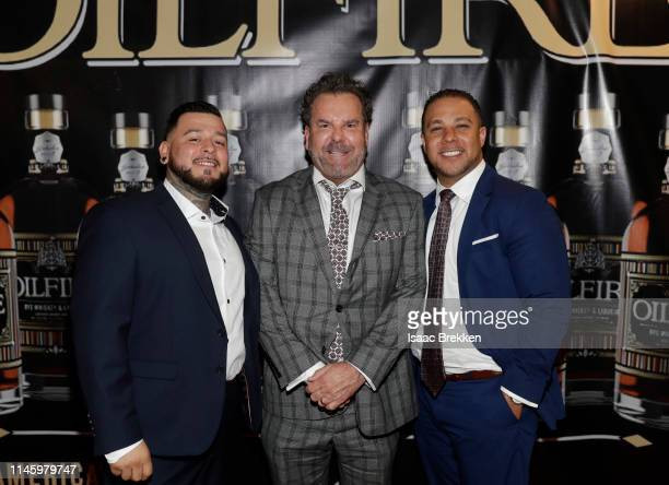 Anthony Gutierrez Champ Williams and Chris Senn arrive at the Oilfire Whiskey preBillboard Music Awards party on April 29 2019 in Las Vegas Nevada