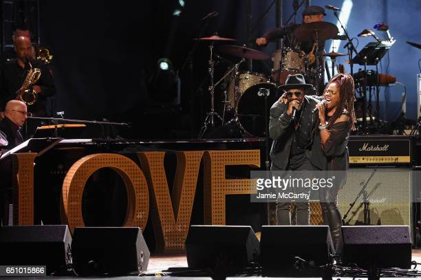 Anthony Hamilton and Catherine Russell perform onstage during 'Love Rocks NYC A Change is Gonna Come Celebrating Songs of Peace Love and Hope' A...