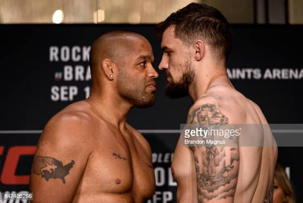 Anthony Hamilton and Daniel Spitz face off during the UFC Fight Night Weigh-in on September 15, 2017 in Pittsburgh, Pennsylvania.