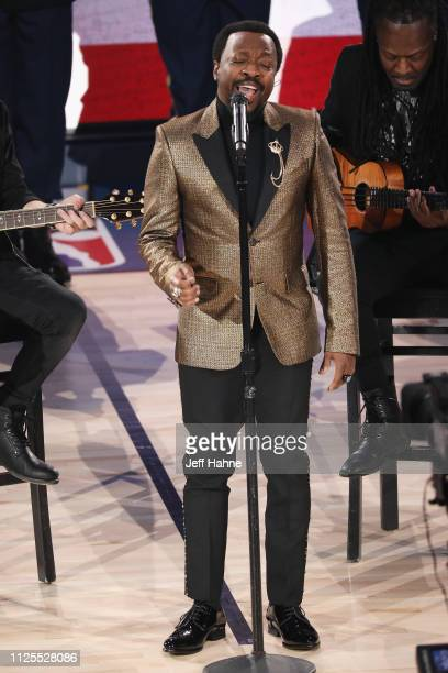 Anthony Hamilton performs the National Anthem during the 68th NBA AllStar Game at Spectrum Center on February 17 2019 in Charlotte North Carolina